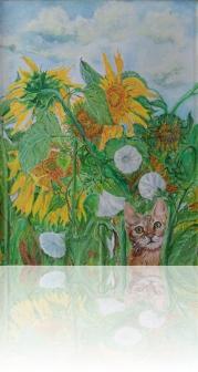 Kot w słonecznikach